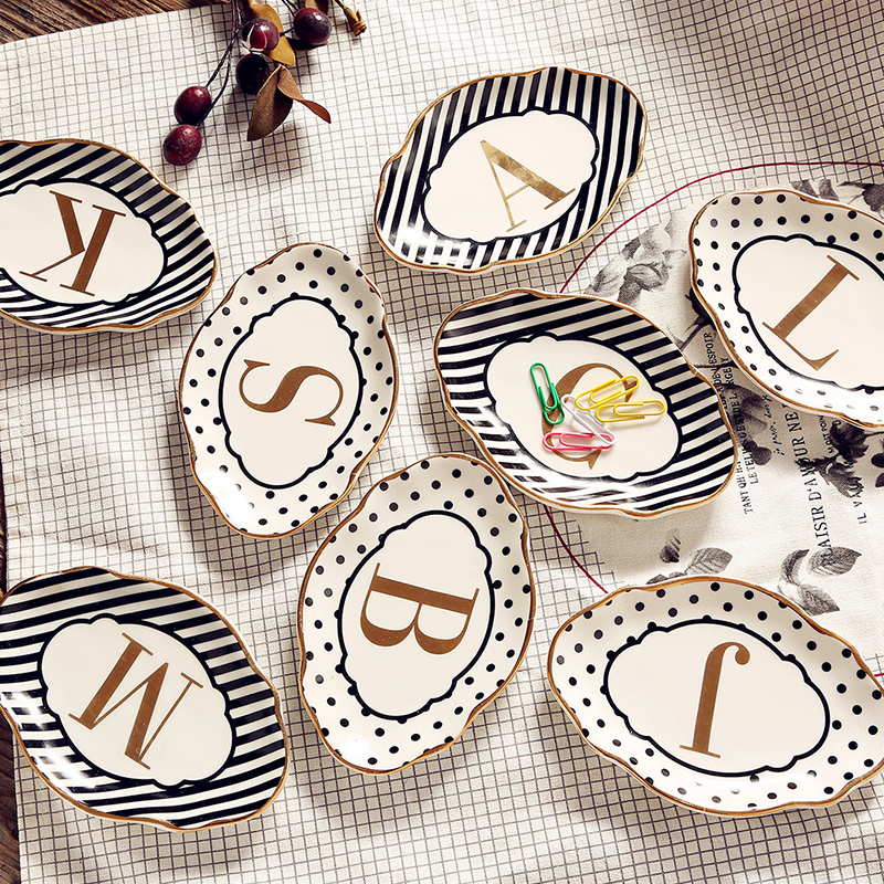 Ceramic Letter English Alphabet Decorative Plate Jewelry Dish Phnom Penh Wave Dot Stripe Tray