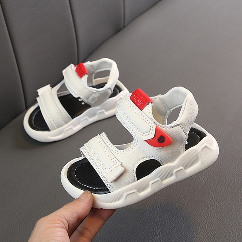 Summer Children Sandals For Boys Girls Beach Shoes Sports Kids White Leather Sandals Fashion Soft Bottom Non-slip Toddler Shoes