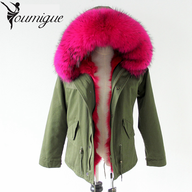 YOUMIGUE  New Women Winter Coat Army Green Thick Parkas Plus Size Real Raccoon Fur Collar Hooded Fox Fur Lining Winter Jacket