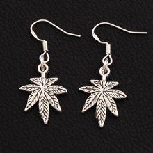 цена на 30pair Antique Silver Maple Earrings 925 Silver Fish Ear Hook Chandelier E360 37.6x15.6mm