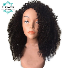FlowerSeason 13×6 Deep Parting Afro Kinky Curly Lace Front Human Hair Wigs With Baby Hair Brazilian Remy Pre Plucked 130%Density