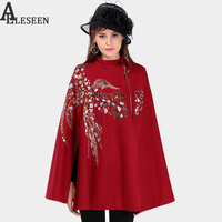 High Quality Runway Coat New Woolen Wine Black Beading Batwing Turtleneck Sequined Birds Elegant Autumn Luxury