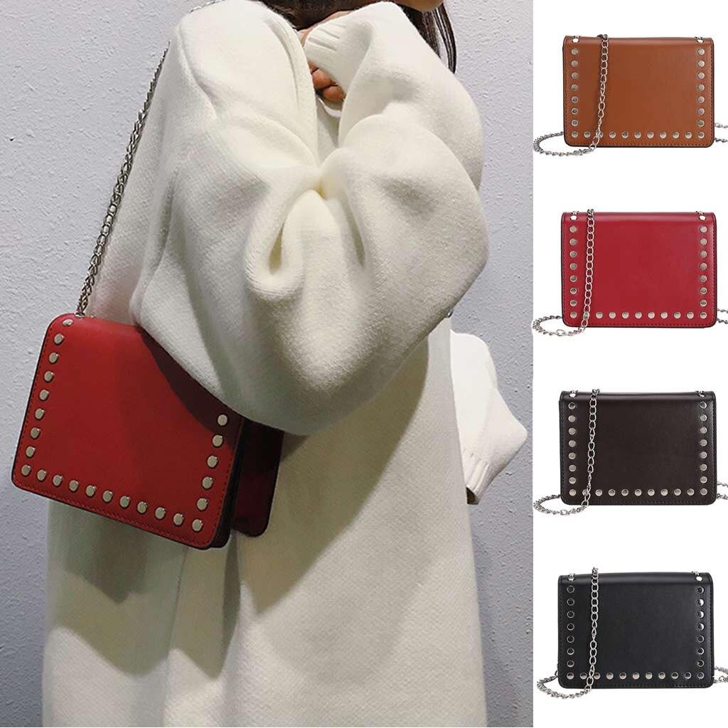 100% Wahr Taschen Für Frauen Niet Einfarbig Schulter Luxus Handtaschen Frauen Taschen Messenger Kette Telefon Frauen Tasche Bolso Mujerl16