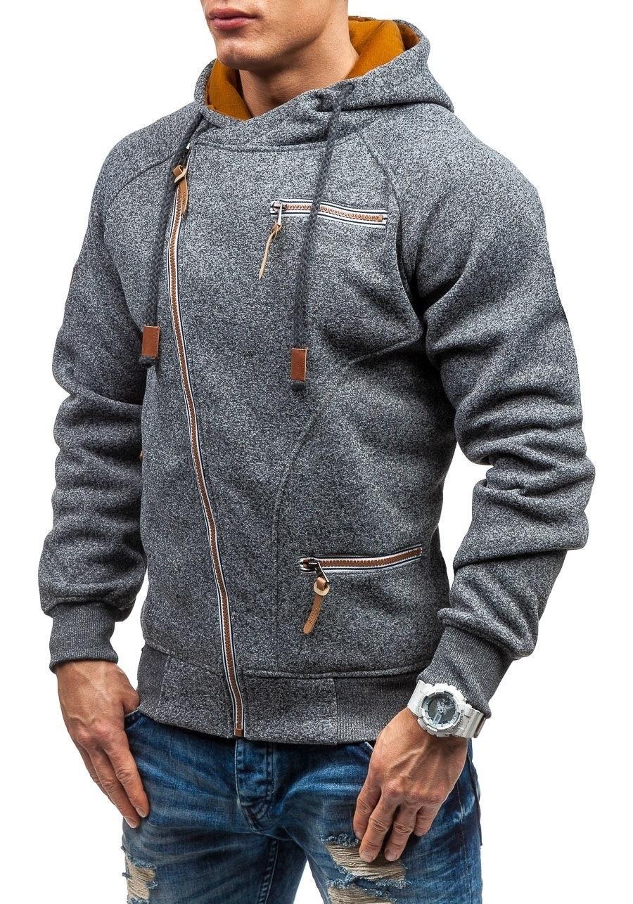Autumn Winter Coat Oblique zipper Hoodies mens coats and jackets sportwear fitness Tracksuit fleece Jacket male Hoody Sweatshirt 4
