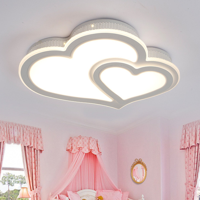 HAIXIANG LED Acryl Ceiling Lights Romantic Marriage Room Heart Shaped Small  Bedroom Lamp Remote Control