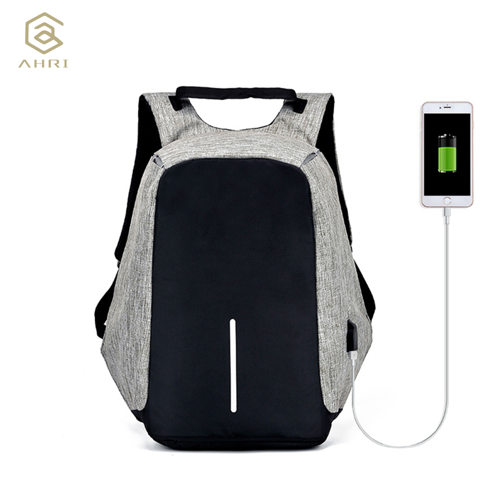 AHRI Anti-theft Backpack Book Bags for School Backpack Casual Rucksack Daypack Oxford Canvas <font><b>Laptop</b></font> Fashion Man USB Backpacks