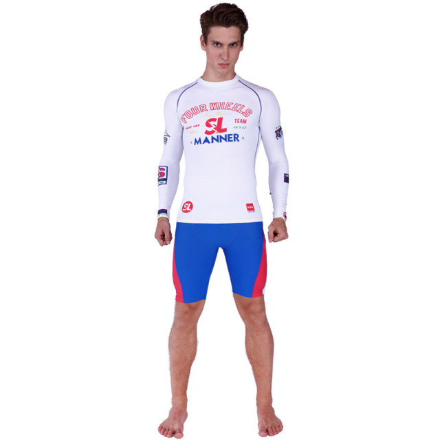 185637c2d5f SABOLAY Rash Guard Men Tight Long Sleeve Surf Shirt Swimsuit Sunscreen  UPF50+ Swimming Short Suit Swim Pants Plus Size Swimwear