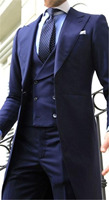 2018 Navy Blue Double Breasted vest Long tail coat Wedding Suits for Men Peaked Lapel Mens Suit Evening Party Gentlemen Tuxedos