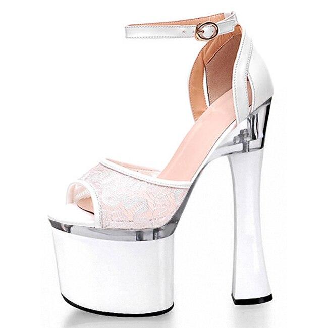 black font b party b font dresses hollow out serging 18 cm super high heels Roman