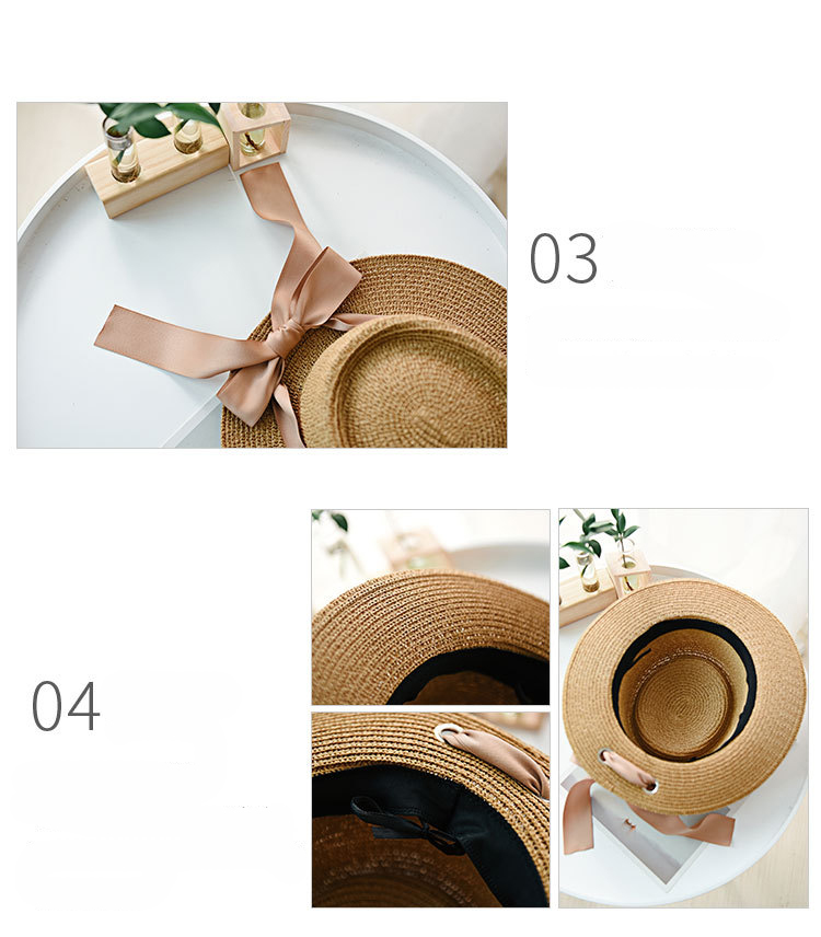 HTB1gFY9aPvuK1Rjy0Faq6x2aVXaZ - Ymsaid New Summer Sun Hats Women Fashion Girl Straw Hat  Ribbon Bow Beach Hat Casual Straw Flat Top Panama Hat Bone Feminino