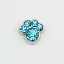 hot selling 10PCS pawprint  March  birthstone floating charms for glass floating lockets