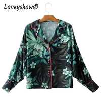 Hot Sale Vintage Lapel Flower Print Kimono Shirt 2017 Woman Long Sleeve Batwing Sleeve Pajamas Style