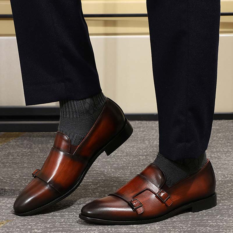 Fashion Gentleman Cow Leather Men Monk Strap Loafer Shoes Slip On Elegant Men Dress Shoes Black