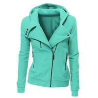 2017 Spring Autumn Solid Hooded Jacket Women S Long Sleeve Sweathirt Thick Tops V Neck Hoodies