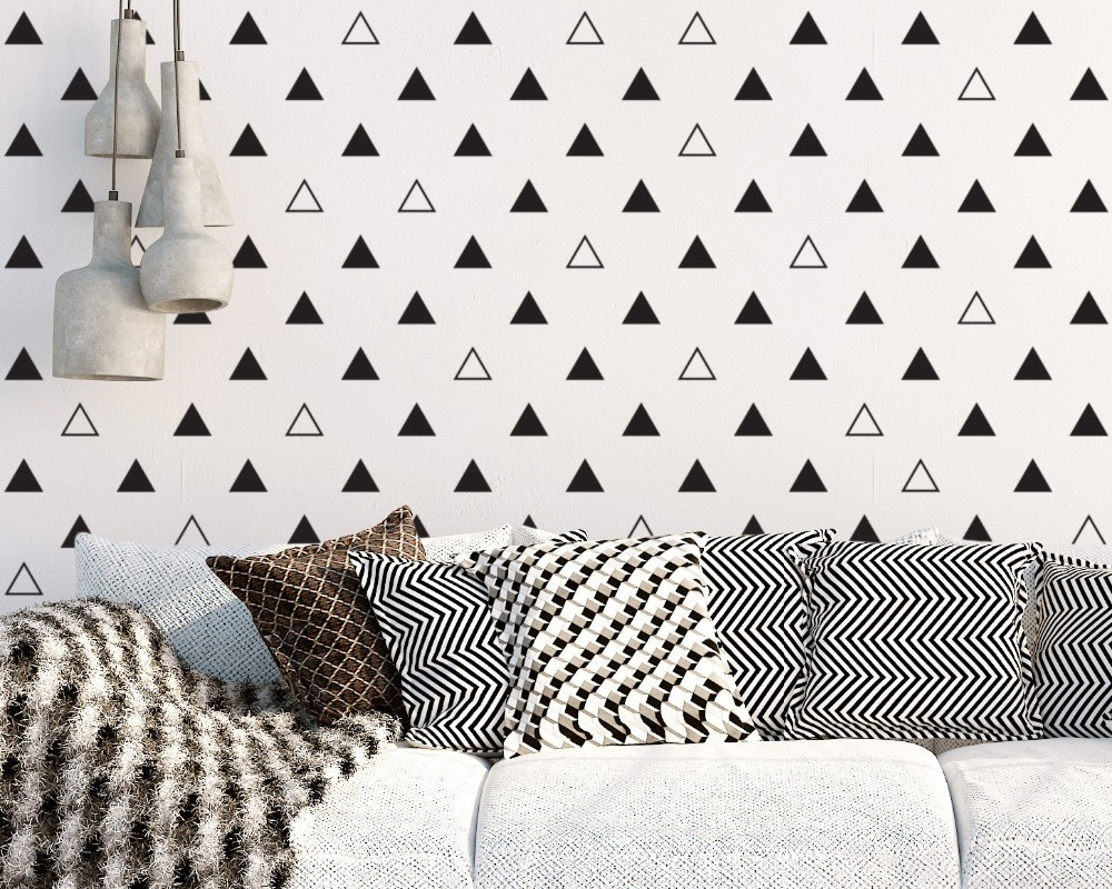 triangle set patterned special designed wall decals home nursery bedroom sweet decor sweet vinyl wall murals - Wall Decals Designs