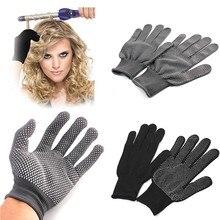 2 sztuk profesjonalne odporna na wysoką temperaturę rękawica narzędzie do układania włosów do curlingu prosto prostownica czarne rękawice termiczne do lokówki