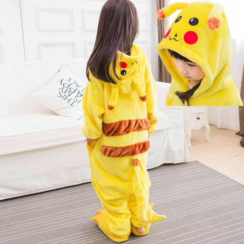 Фланель цельный животных пижамы мультфильм Аниме Kigurumi пижамы мягкие  детские кигуруми Пикачу для мальчиков и девочек f3c97e3cd42b3