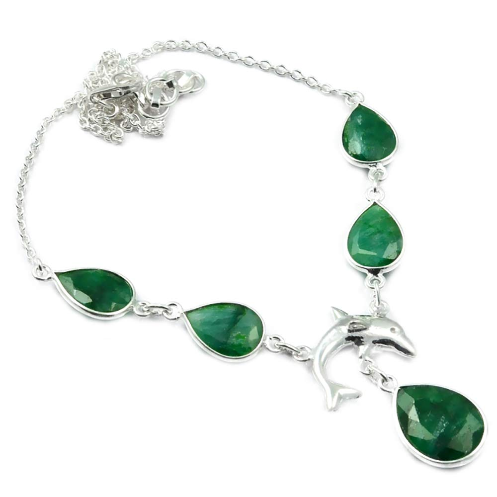 Nature Emerald Necklace 925 Sterling Silver, 44.5 cm, 2SN0028Nature Emerald Necklace 925 Sterling Silver, 44.5 cm, 2SN0028
