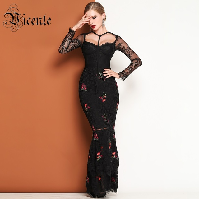 a4a80bc87a067 US $118.98 |Vicente HOT Stylish Floral Embroidery Design Long Sleeves Tie  Design Black Lace 2019 New Celebrity Party Bandage Long Dress-in Dresses ...