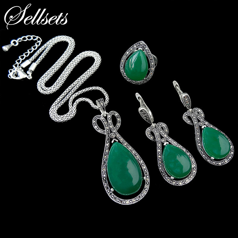 HENSEN Fashion Jewellery Set Newest Green Water Drop Design Antique Silver Plated Vintage Jewelry Sets