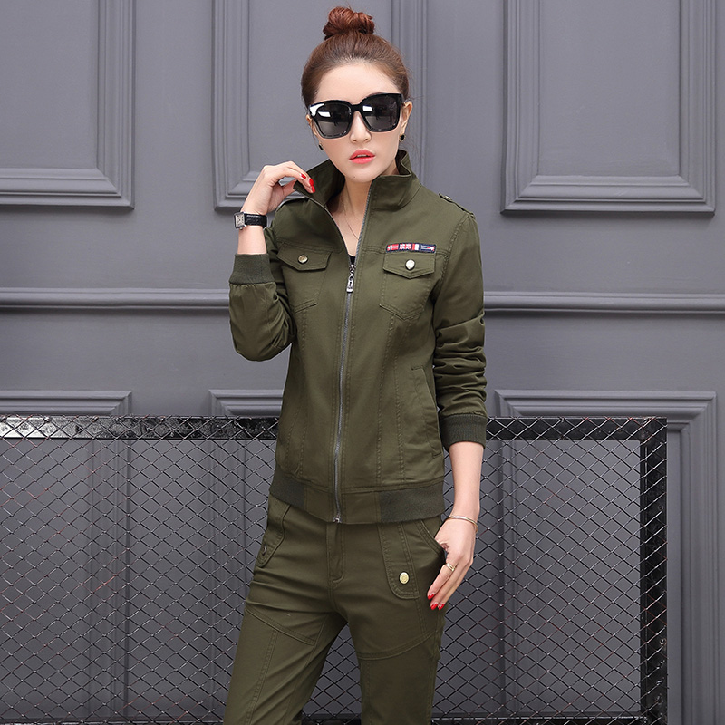 Spring Camouflage Women's Bomber   Jacket   Ladies Camo   Basic     Jackets   Zipper   Jackets   Plus Size Army Green Military Uniform Clothing