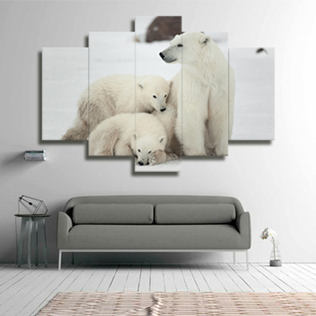 No frame Polar bear canvas decor oil framework modular picture ...