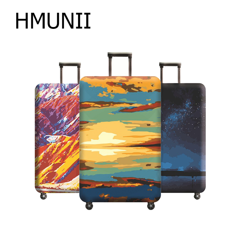 Oil Painting Design Suitcase Elastic Protective Cover Luggage Cover Travel Accessories 18 - 32 Inch Travel Trolley Suitcase Case