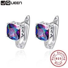 JQUEEN Aretes De Moda ¢ O Del Oído 925 Pendiente De Plata de Joyería de Moda de Marca para Las Mujeres con 6.8ct Rainbow Topaz Piedras