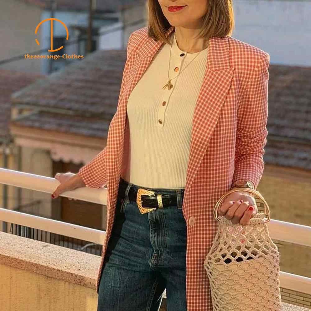 New Za Autumn white pink plaid casual Blazer women office lady Single button Elegant Fashion easy-matching suit long coat blazer