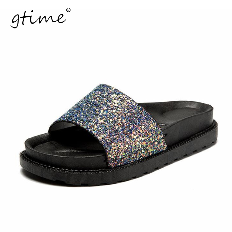 GTIME 2017 NEW Glitter Slippers Summer Beach Flats Casual Platform Shoes Woman Bling Slides Slip On Women Shoes # ZWB118 phyanic crystal shoes woman 2017 bling gladiator sandals casual creepers slip on flats beach platform women shoes phy4041