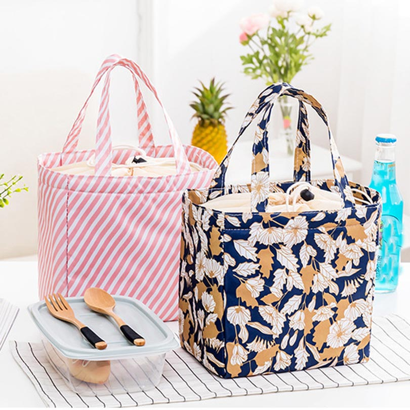 Waterproof Oxford Tote Thermal Bag Floral Pattern Beach Lunch Bag Box Food Picnic Bolsa Termica Women Kid Men String Cooler Bag