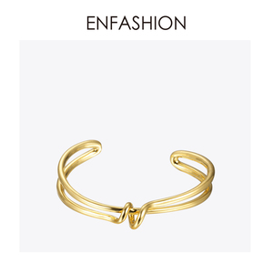Image 1 - Enfashion 매듭 팔목 팔찌 Manchette Armband 골드 컬러 루프 라인 팔찌 팔찌 여성용 팔찌 Bangles Pulseiras B8782