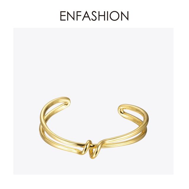 Enfashion 매듭 팔목 팔찌 Manchette Armband 골드 컬러 루프 라인 팔찌 팔찌 여성용 팔찌 Bangles Pulseiras B8782