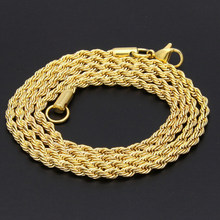 Fashion rope chain link chain Hip Pop Rappers 1mm, 2mm, 3mm, 4mm 60cm Long zinc alloy Gold\Silver Twist Buckle Necklace(China)