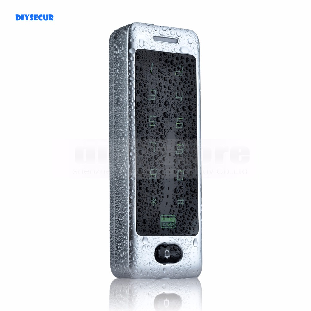 DIYSECUR Waterproof Metal Case Touch Button 125KHz Rfid Card Reader Door Access Controller System Password Keypad C40 good quality metal case face waterproof rfid card access controller with keypad 2000 users door access control reader