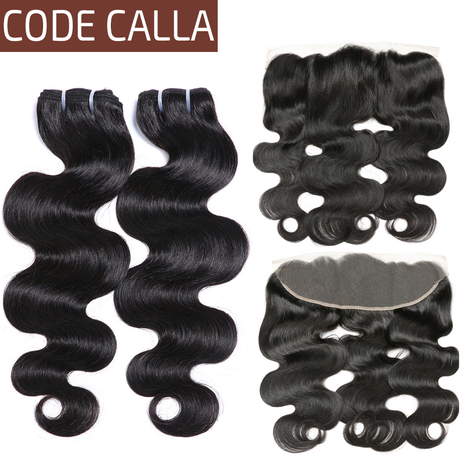 Code Calla Indian Raw Virgin Pre colored Bundles with 13 4 Lace Frontal Closure Body Wave
