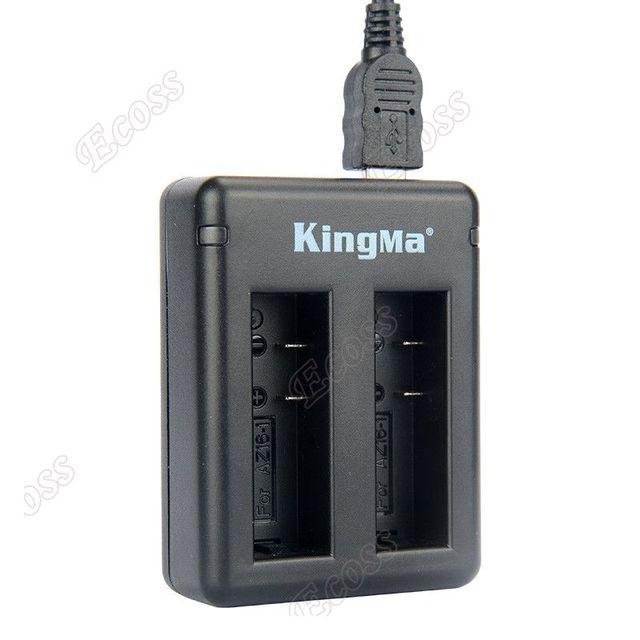 Original KingMa Xiaomi Yi 4K Battery 2PCS 1400Mah Battery+Dual USB Charger For Sport Yi 4K Action Camera Battery Accessories
