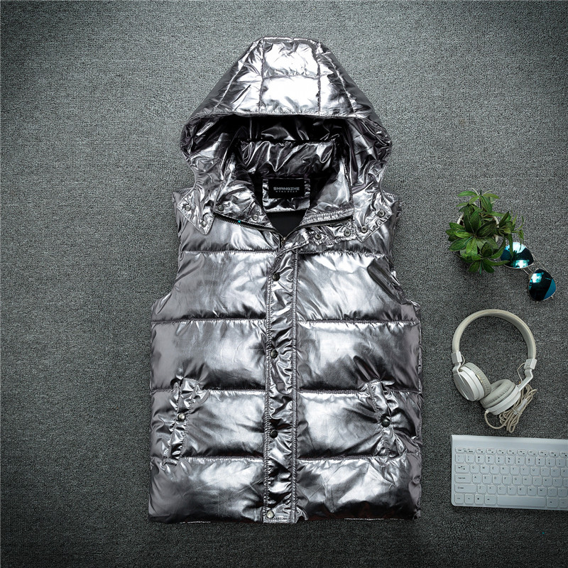 MORUANCLE Fashion Men's Shinny Vests Cotton Lined Thick Thermal Waistcoat For Male Metallic Coated Silver Sleeveless Jacket