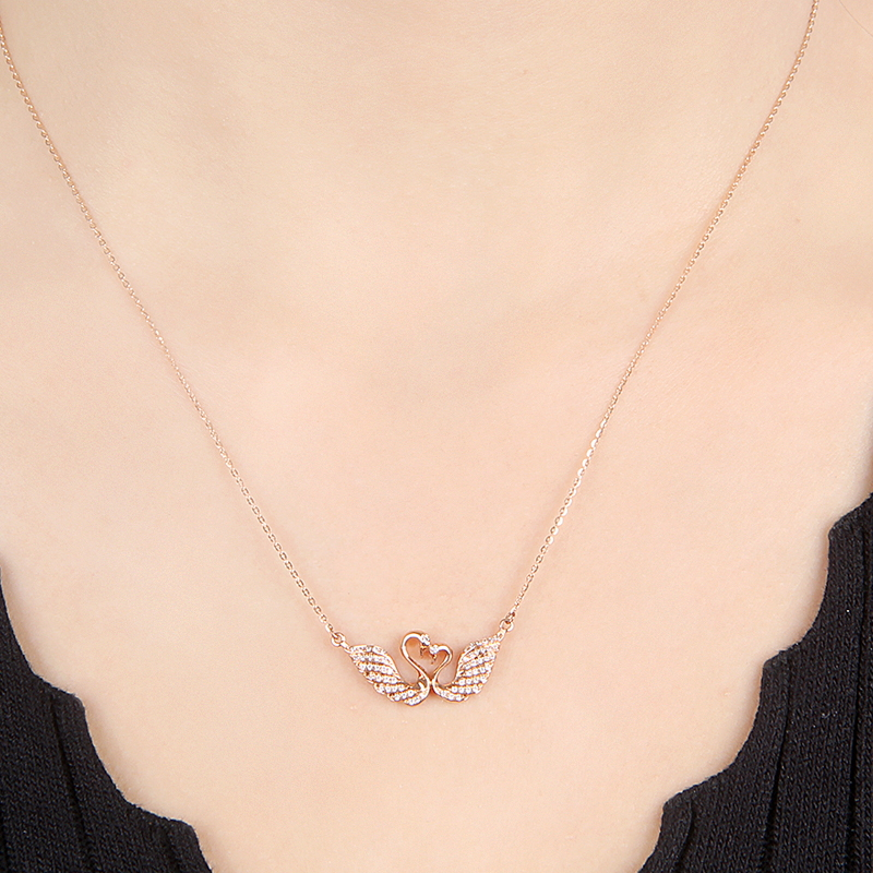 18k Gold Rose Gold Diamond Necklace Custom Platinum Gold Swan ...