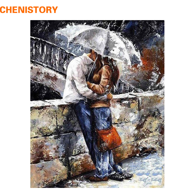 CHENISTORY romatic lover DIY Painting By Numbers Home Art Wall Figure Pictures For Living Room Modern Decoration Picture