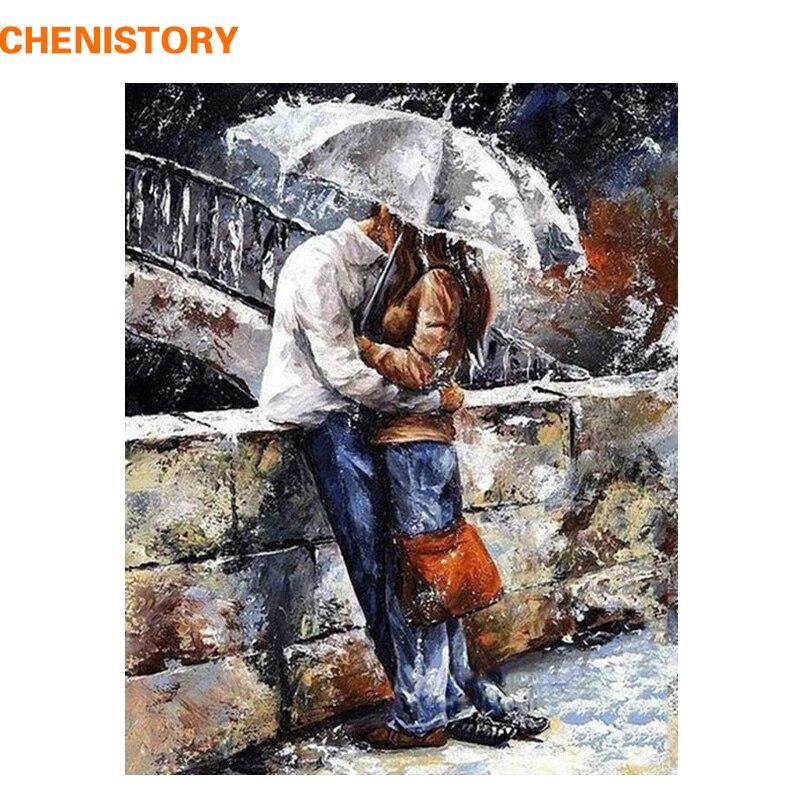 Chenistory romatic amant bricolage peinture by numéros home art figure mur photos pour salon moderne décoration photo illustration
