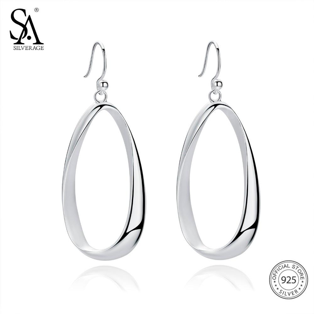 SA SILVERAGE Real 925 Sterling Silver Twisted Drop Earrings For Women Fine Jewelry Oval Teardrop Dangle Big Long Earrings teardrop decorated hook drop earrings