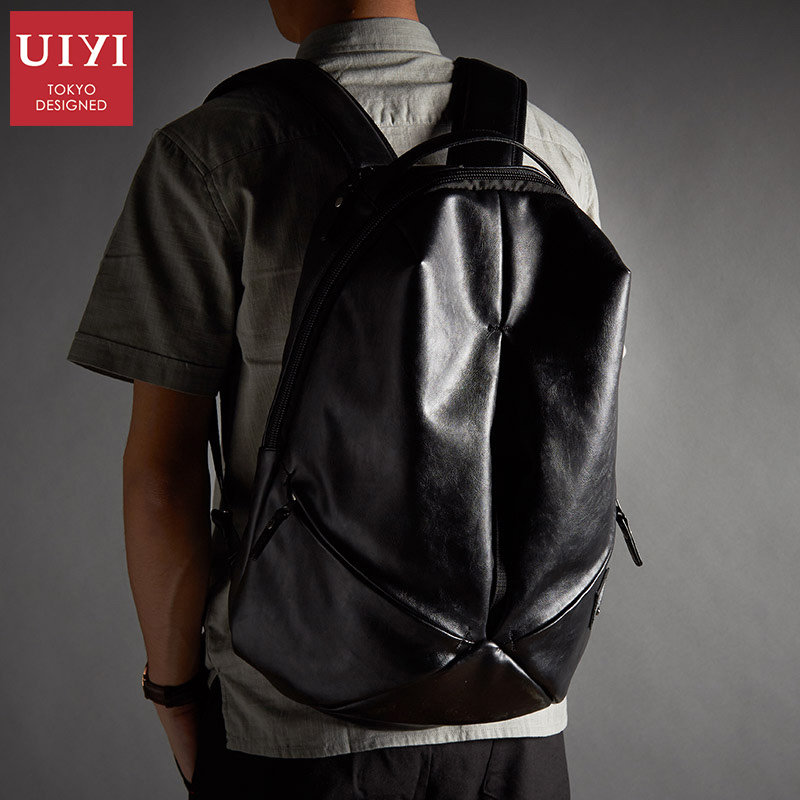 UIYI Brand New Men Backpack Black Waterproof Backpack Fashion PU Leather Travel Bag Casual School Bag For Teenagers 2018 2018 new casual girls backpack pu leather 8 colors fashion women backpack school travel bag with bear doll for teenagers girls page 7
