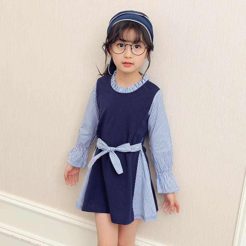 Preppy Style Dresses For Girls Teenagers 5 6 7 8 9 10 11 12 13 Years Striped Kids Dress Autumn Long Sleeve School Baby Dress girls princess party dresses 4 long sleeve striped kids dresses for girls 6 preppy style bottoming dress 8 ball gowns 10 12years