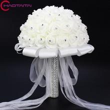 2018 Bridal Wedding Bouquet With Pearl Beaded Romantic Bride 's Bouquet Foamflowers Ramo De Boda Flowers Bride White Satin