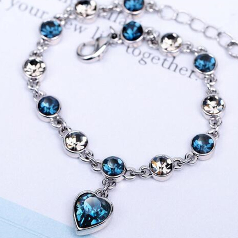 Ocean Heart Love Heart-shaped Peach Austria Crystal Zircon Ladies Bracelet Jewelry Accessories Fantastic Wristlet Trinket