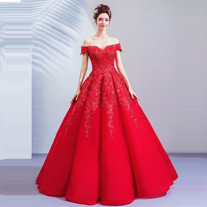 Wedding Dresses Red Sexy Lace Off The Shoulder Wedding Dress 2019 Embroidery Plus Size Backles Sleeveless Vestido De Novia E609