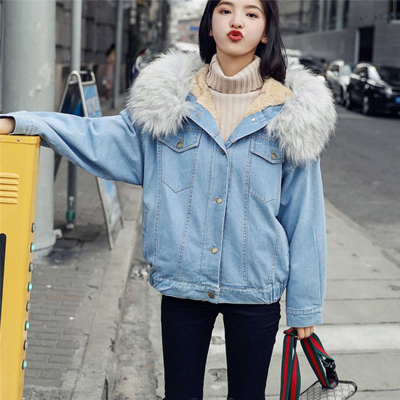 Femmes Vêtements Manches Chaud 2018 Vintage S27 Bleu Longues Denim Veste Fille Capuche Automne Manteau À Jeans HwqPqx5R1