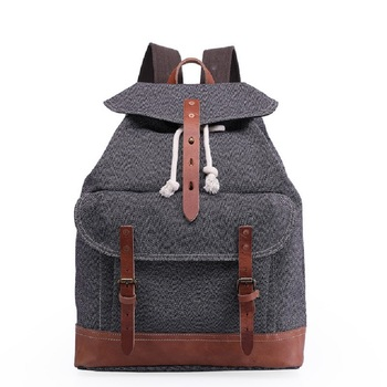 M258 Vintage Pepper Salt Canvas Leather Backpacks for Men Laptop Daypacks Wear-resisting Canvas Rucksacks Large Travel Back Pack