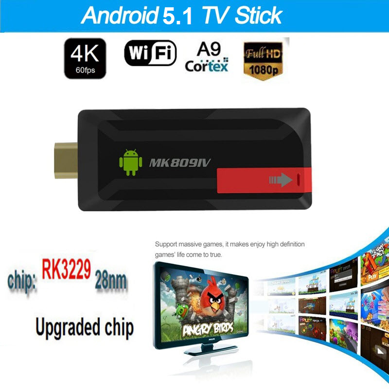 Mise à niveau 4 K MK809IV TV Dongle Stick RK3229 Android TV Box Quad Core 2G 16G Mini PC WiFi Android TV Stick Support 4 K